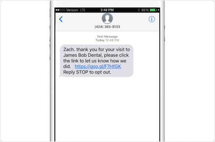 text message customer reviews